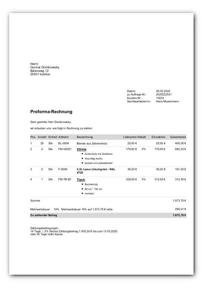 Proforma-Rechnung mit Listenpreis_faq