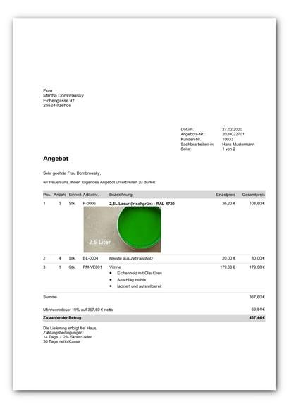 Standardvorlage Angebot mit Bildern_faq