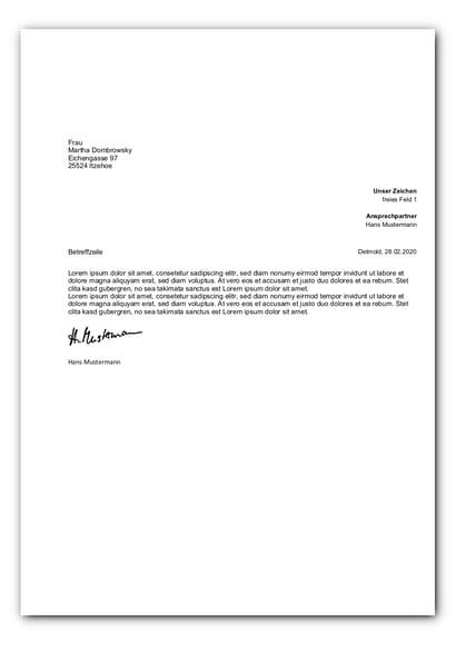 Standardvorlage Brief mit Unser Zeichen_faq