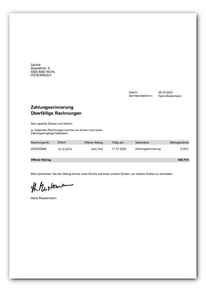 Standardvorlage Mahnung Kundenkonten_faq